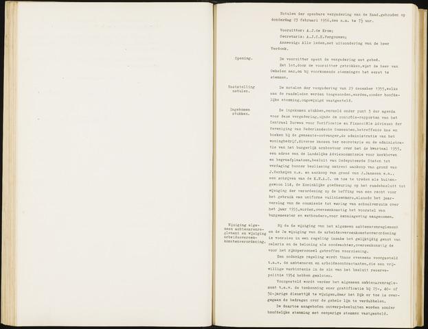 Hoeven: Notulen gemeenteraad, 1928-1996 1956-01-01