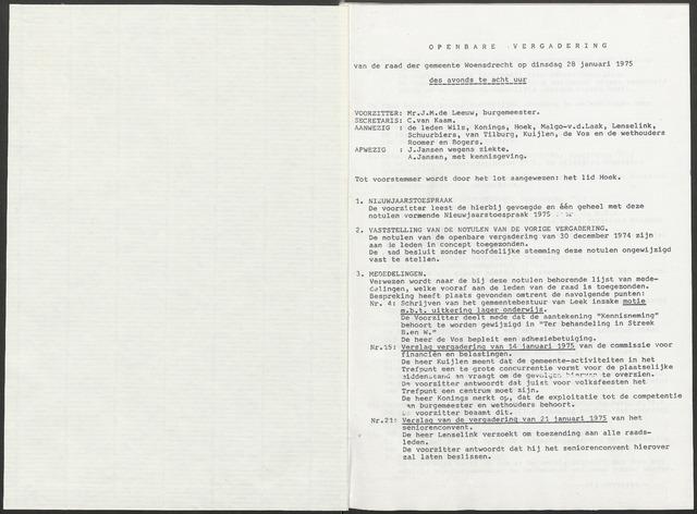 Woensdrecht: Notulen gemeenteraad, 1922-1996 1975-01-01