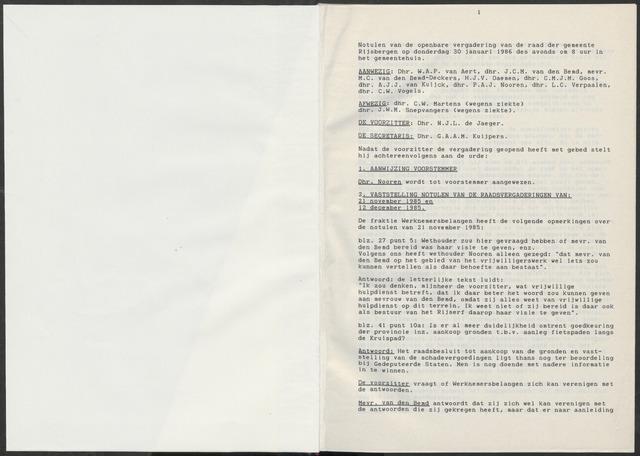 Rijsbergen: Notulen gemeenteraad, 1940-1996 1986