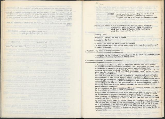 Ossendrecht: Notulen gemeenteraad, 1920-1996 1960