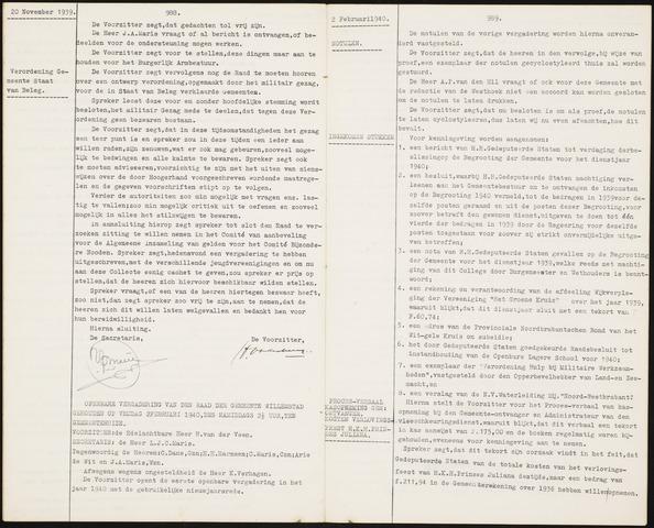 Willemstad: Notulen gemeenteraad, 1927-1995 1940-01-01