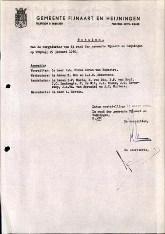 Fijnaart en Heijningen: notulen gemeenteraad, 1934-1995 1960