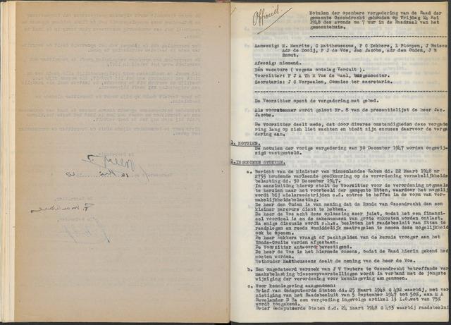 Ossendrecht: Notulen gemeenteraad, 1920-1996 1948