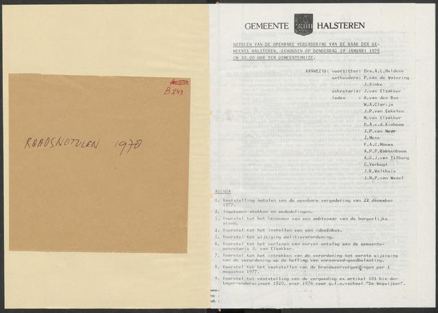 Halsteren: Notulen gemeenteraad, 1960-1996 1978