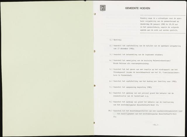 Hoeven: Notulen gemeenteraad, 1928-1996 1982-01-01