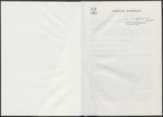 Rijsbergen: Notulen gemeenteraad, 1940-1996 1987