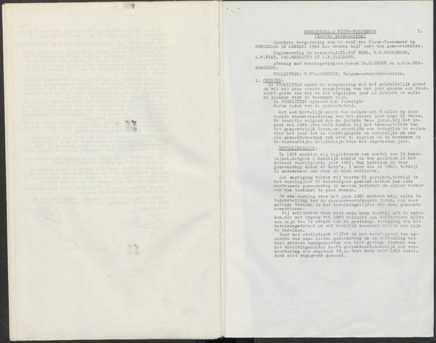 Nieuw-Vossemeer: Notulen gemeenteraad, 1957-1996 1964-01-01