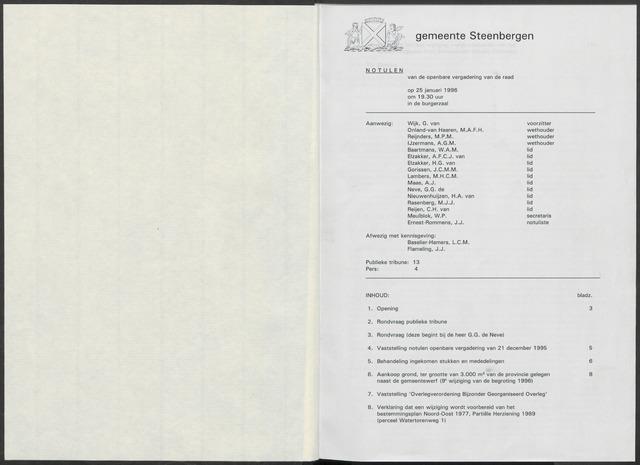 Steenbergen: Notulen gemeenteraad, 1920-1996 1996-01-01