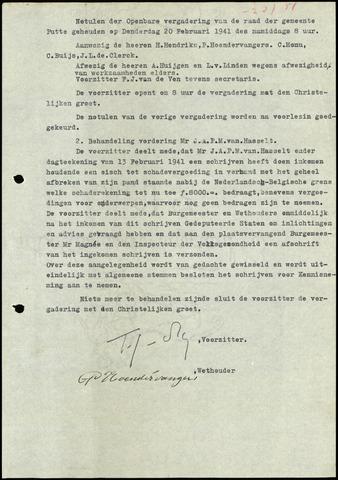 Putte: Notulen gemeenteraad, 1928-1996 1941-01-01