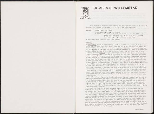 Willemstad: Notulen gemeenteraad, 1927-1995 1980-01-01