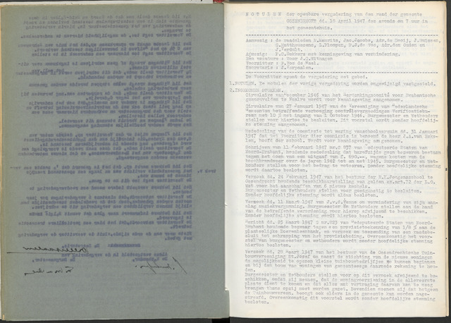 Ossendrecht: Notulen gemeenteraad, 1920-1996 1947