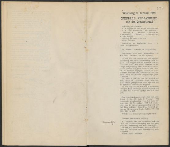 Steenbergen: Notulen gemeenteraad, 1920-1996 1923-01-01