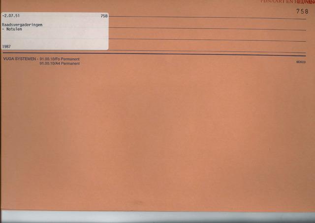 Fijnaart en Heijningen: notulen gemeenteraad, 1934-1995 1987