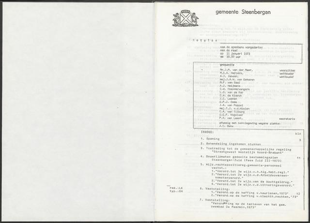 Steenbergen: Notulen gemeenteraad, 1920-1996 1973-01-01