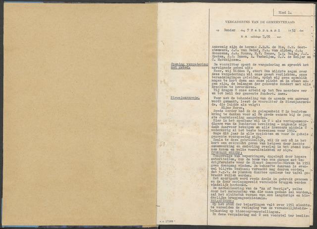 Zundert: Notulen gemeenteraad, 1934-1988 1952-01-01