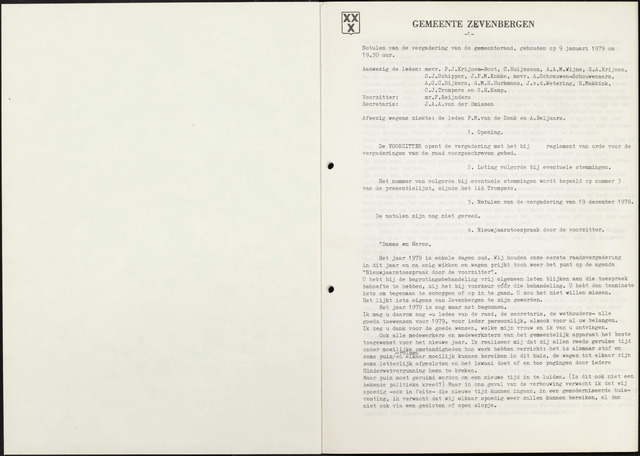 Zevenbergen: Notulen gemeenteraad, 1930-1996 1979-01-01