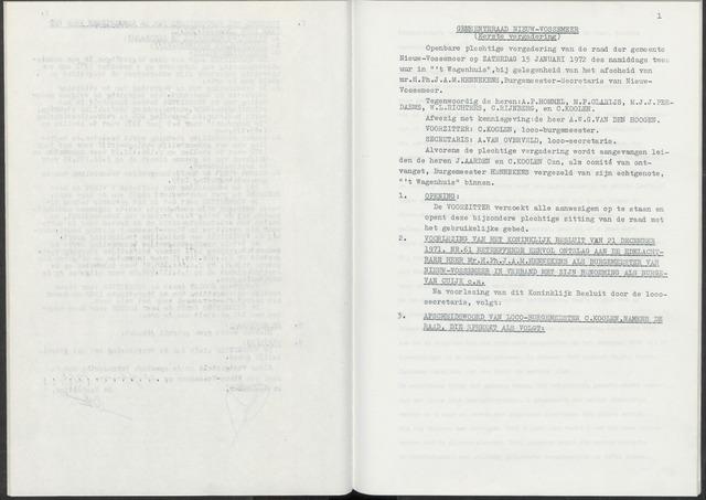 Nieuw-Vossemeer: Notulen gemeenteraad, 1957-1996 1972-01-01