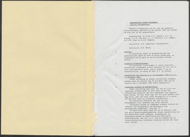 Nieuw-Vossemeer: Notulen gemeenteraad, 1957-1996 1993-01-01