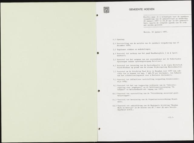 Hoeven: Notulen gemeenteraad, 1928-1996 1987-01-01