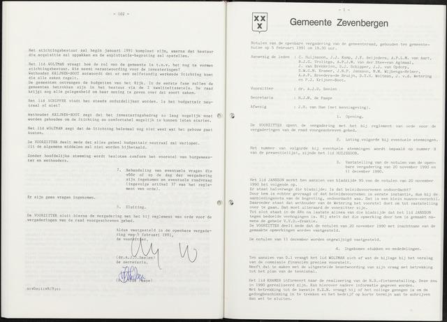 Zevenbergen: Notulen gemeenteraad, 1930-1996 1991-01-01