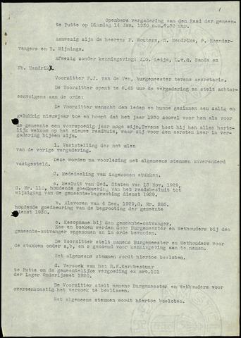 Putte: Notulen gemeenteraad, 1928-1996 1930-01-01