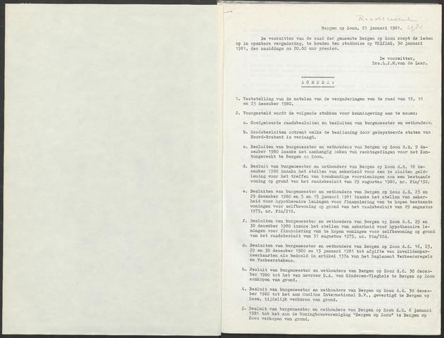 Bergen op Zoom: Notulen gemeenteraad, 1926-1996 1981-01-01