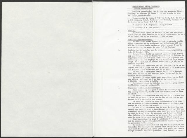 Nieuw-Vossemeer: Notulen gemeenteraad, 1957-1996 1984-01-01
