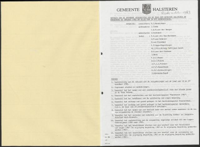 Halsteren: Notulen gemeenteraad, 1960-1996 1983