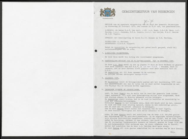Rijsbergen: Notulen gemeenteraad, 1940-1996 1975