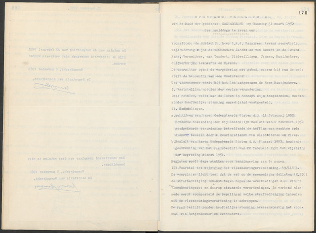 Woensdrecht: Notulen gemeenteraad, 1922-1996 1952-01-01