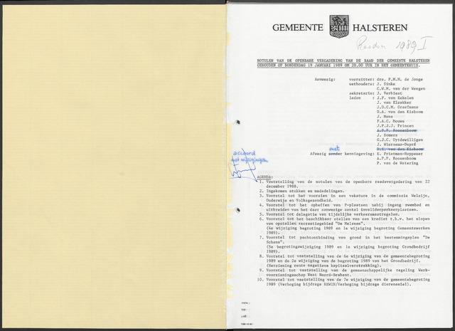 Halsteren: Notulen gemeenteraad, 1960-1996 1989