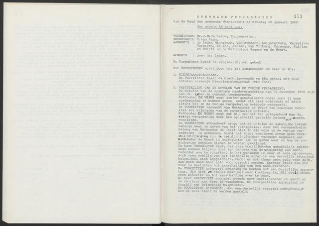 Woensdrecht: Notulen gemeenteraad, 1922-1996 1969-01-01