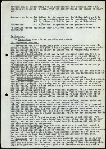 Putte: Notulen gemeenteraad, 1928-1996 1964-01-01