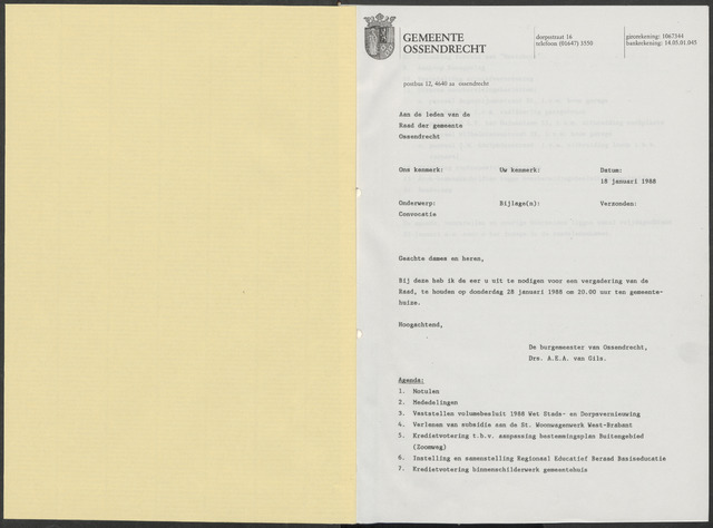 Ossendrecht: Notulen gemeenteraad, 1920-1996 1988