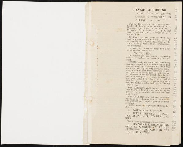 Klundert: Notulen gemeenteraad, mei 1933-1996 1933