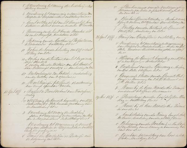 Roosendaal: Inhoudsopgaven notulen, 1849-1903 1877