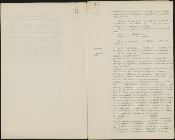 Oudenbosch: Notulen gemeenteraad, 1939-1994 1940-01-01