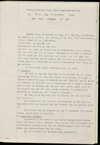Fijnaart en Heijningen: notulen gemeenteraad, 1934-1995 1948