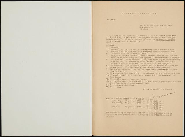 Klundert: Notulen gemeenteraad, mei 1933-1996 1978