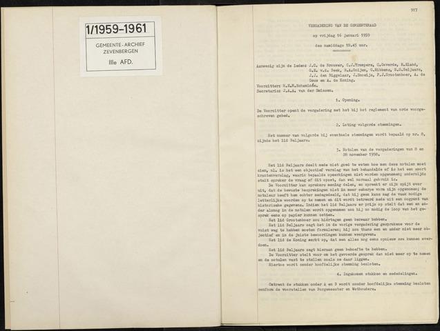 Zevenbergen: Notulen gemeenteraad, 1930-1996 1959-01-01