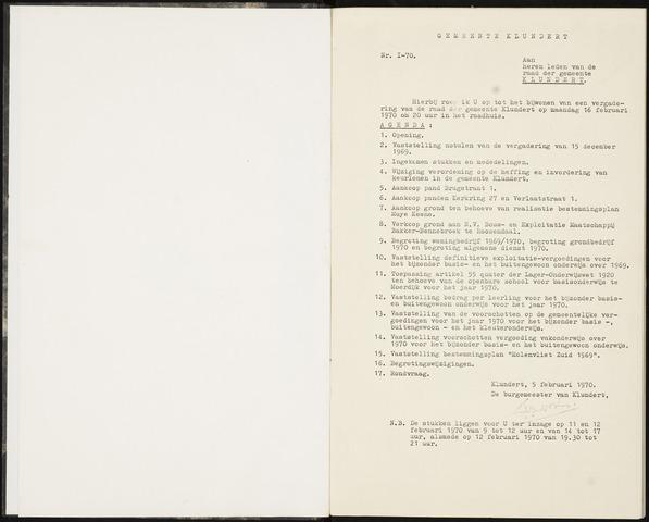 Klundert: Notulen gemeenteraad, mei 1933-1996 1970