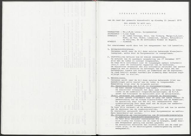Woensdrecht: Notulen gemeenteraad, 1922-1996 1978-01-01