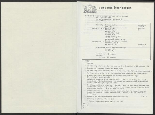 Steenbergen: Notulen gemeenteraad, 1920-1996 1983-01-01