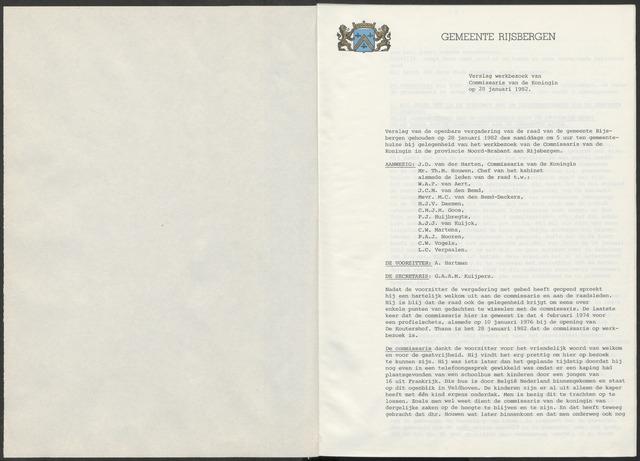 Rijsbergen: Notulen gemeenteraad, 1940-1996 1982