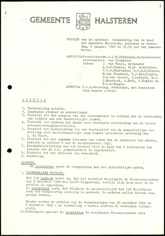 Halsteren: Notulen gemeenteraad, 1960-1996 1960
