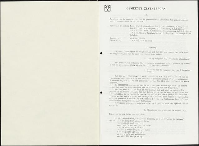 Zevenbergen: Notulen gemeenteraad, 1930-1996 1981-01-01