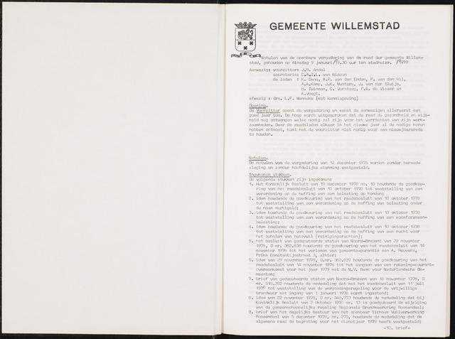 Willemstad: Notulen gemeenteraad, 1927-1995 1979-01-01