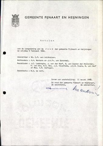 Fijnaart en Heijningen: notulen gemeenteraad, 1934-1995 1968