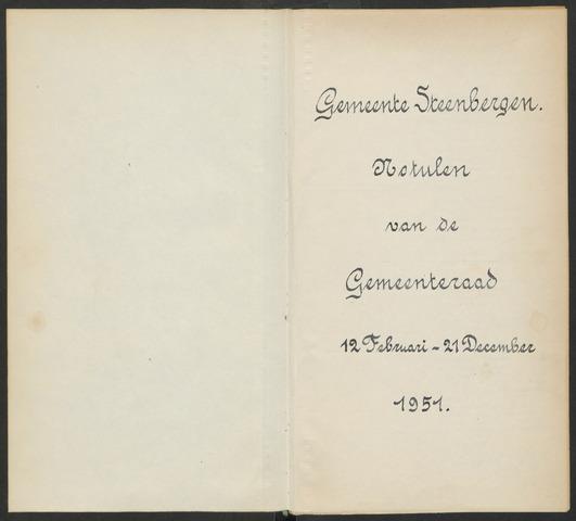Steenbergen: Notulen gemeenteraad, 1920-1996 1951-01-01