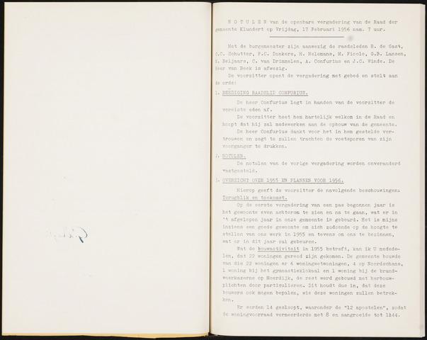 Klundert: Notulen gemeenteraad, mei 1933-1996 1956